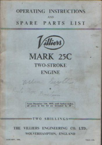 Villiers Mk 25C Two Stroke Engine Operators Manual with Parts List - In Many Allen Scythe